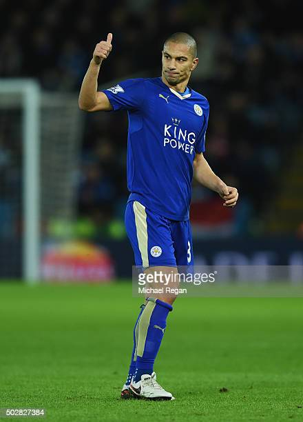 Gokhan Inler of Leicester City gives a thumbs up during the Barclays Premier League match between Leicester City and Manchester City at The King...