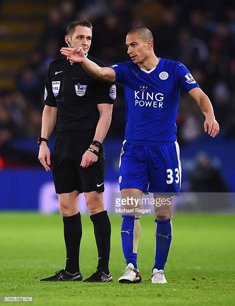 Gokhan Inler of Leicester City in discussion with referee Craig Pawson during the Barclays Premier League match between Leicester City and Manchester...