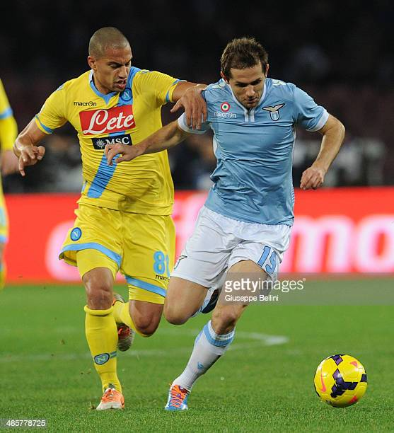Gokhan Inler of Napoli and Senad Lulic of Lazio in action during the TIM Cup match between SSC Napoli and SS Lazio at Stadio San Paolo on January 29...