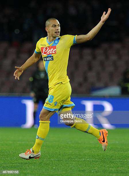 Gokhan Inler of Napoli celebrates after scoring the goal 11 during the Serie A match between SSC Napoli and AC Milan at Stadio San Paolo on February...