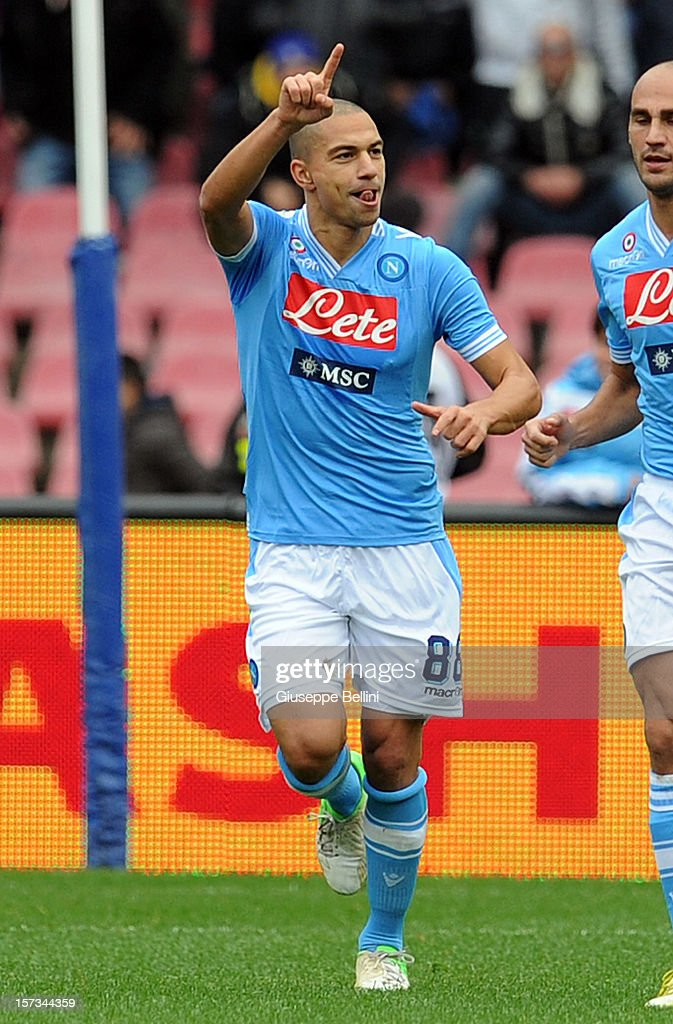 Gokhan Inler of Napoli celebrates after scoring the opening goal of the Serie A match between SSC Napoli and Pescara Calcio at Stadio San Paolo on December 2, 2012 in Naples, Italy.