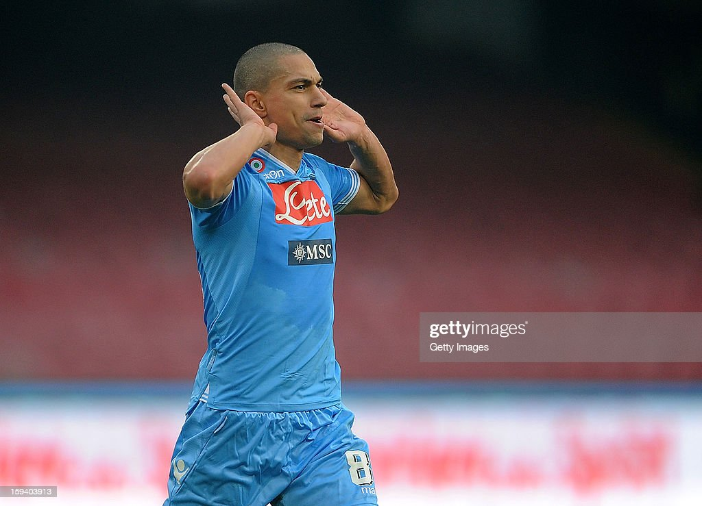 Gokhan Inler of Napoli celebrates scoring the second goal of the match during the Serie A match between SSC Napoli and US Citta di Palermo at Stadio San Paolo on January 13, 2013 in Naples, Italy.