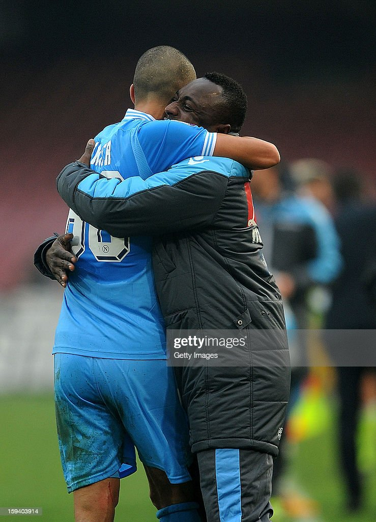 Gokhan Inler (L) of Napoli celebrates scoring the second goal with team mate Pablo Armero during the Serie A match between SSC Napoli and US Citta di Palermo at Stadio San Paolo on January 13, 2013 in Naples, Italy.