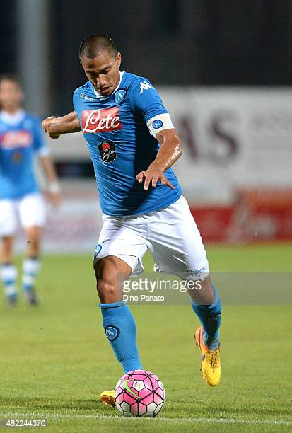 Gokhan Inler of SSC Napoli in action during the preseason frienldy match between SSC Napoli and Feralpi Salo at Stadio Briamasco on July 24 2015 in...