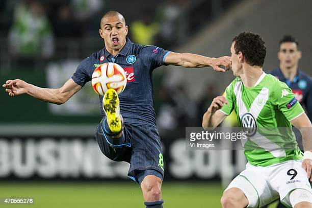 Gokhan Inler of SSC Napoli Ivan Perisic of VFL Wolfsburg during the UEFA Europa League match between VfL Wolfsburg and SSC Napoli on April 16 2015 at...