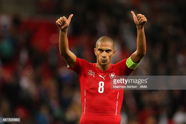 Gokhan Inler of Switzerland at the end of the UEFA EURO 2016 Qualifier Group E England v Switzerland on September 8 2015 in London United Kingdom