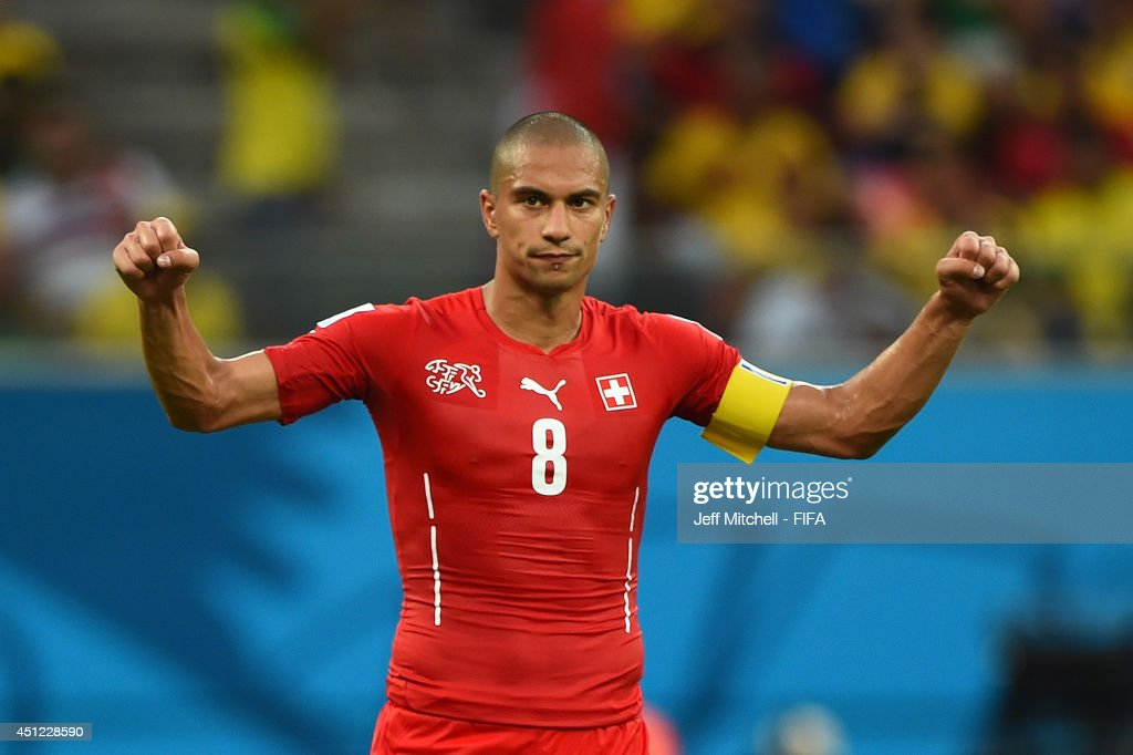 Gokhan Inler of Switzerland celebrates victory after the 2014 FIFA World Cup Brazil Group E match between Honduras and Switzerland at Arena Amazonia on June 25, 2014 in Manaus, Brazil.