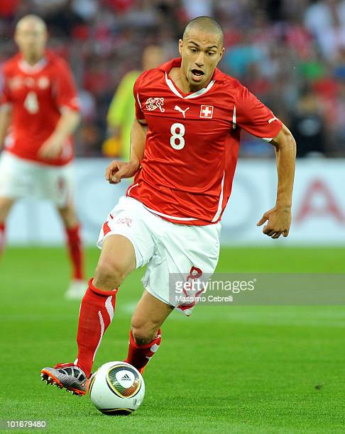 Gokhan Inler of Switzerland in action during the international friendly match between Switzerland and Italy at Stade de Geneve ahead of the FIFA...