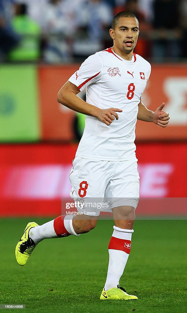 Gokhan Inler of Switzerland in action during the International Friendly match between Greece and Switzerland at Karaiskakis Stadium on February 6, 2013 in Athens, Greece.
