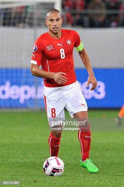 Gokhan Inler of Switzerland in action during the UEFA EURO 2016 qualifier between Switzerland and San Marino at AFG Arena on October 9 2015 in St...