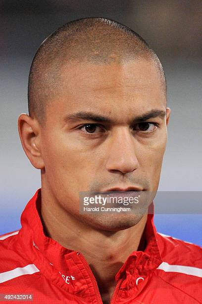 Gokhan Inler of Switzerland looks on during the anthem prior to the UEFA EURO 2016 qualifier between Switzerland and San Marino at AFG Arena on...