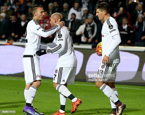 Gokhan Tore Alexis Delgado and Mario Gomez of Besiktas celebrate after scoring a goal during Turkish Spor Toto Super Lig football match between...