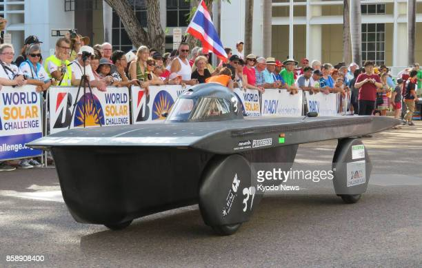 Goko High School team's solar car waits at the start in Darwin on Oct 8 2017 of the World Solar Challenge a 3000kilometer endurance race through...