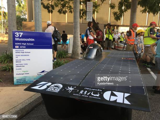 Goko High School's solar car 'Musoushin' is on display in Darwin on Oct 8 before starting a 3000kilometer endurance race through Australia in the...