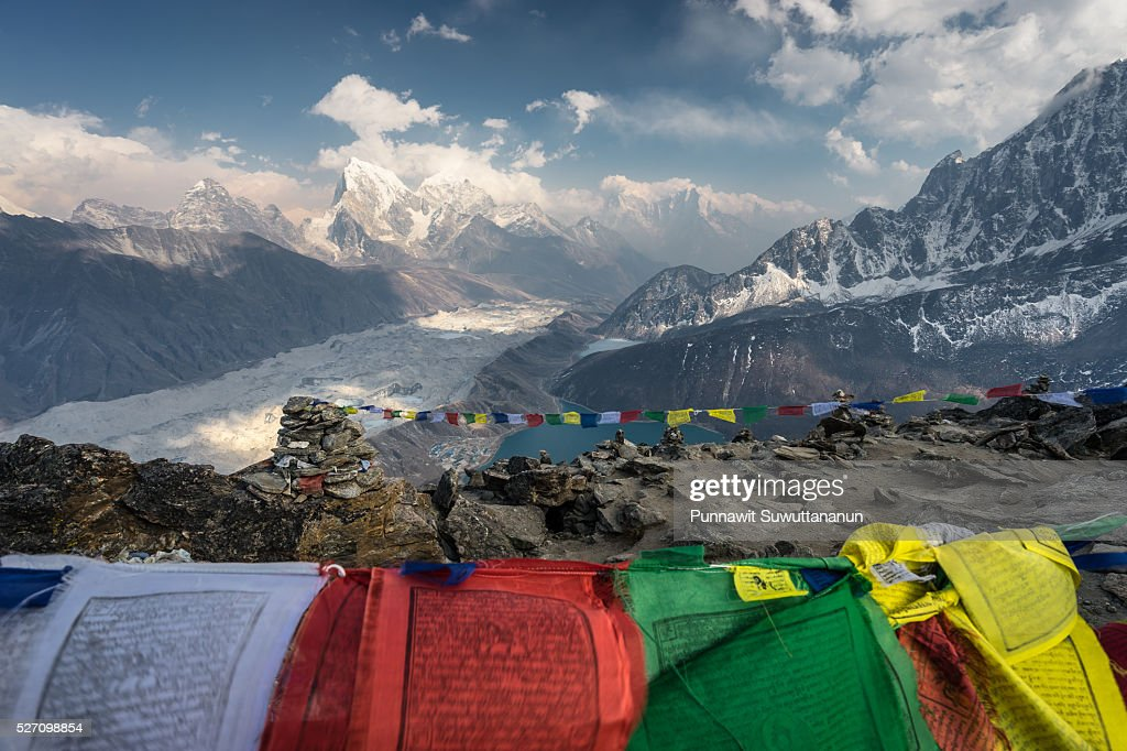 Gokyo Ri and prayer flag, Everest region