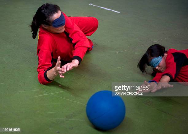 Golbol player Abigail Reynoso and Berly Lopez of Guatemala during their match against Honduras for the XXVII Sport Games for the Blind and...