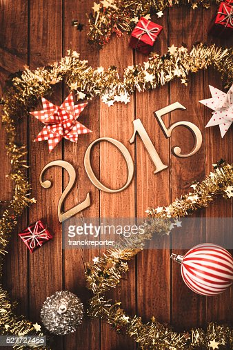 Gold 2015 new year text on christmas decoration stock for A text decoration