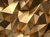 Low-Poly golden abstract background. Metal polygonal shape.