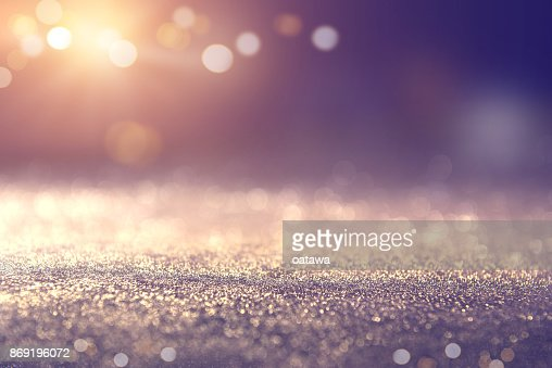Gold and blue glitter lights bokeh abstract background holiday. defocused. : Stock Photo