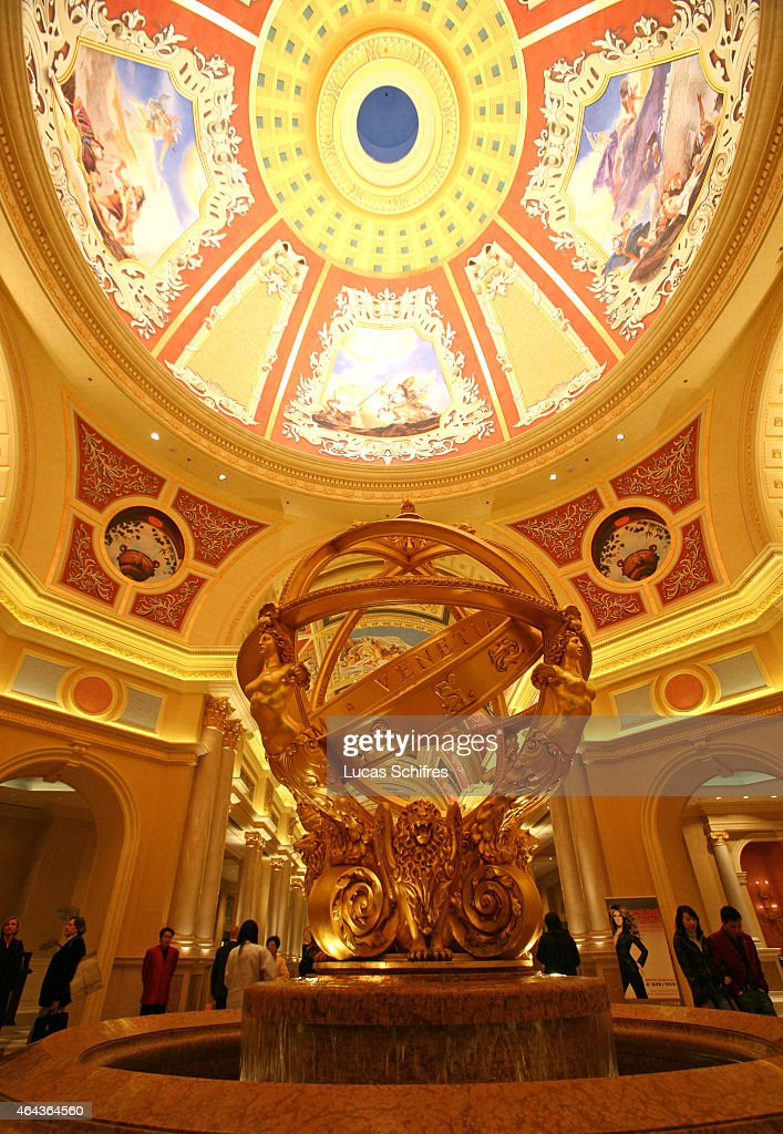 Gold and paintings welcome visitors at the Venetian casino on February 21 2008 in Macau China The Venetian MacaoResortHotel is a 163000 square foot...