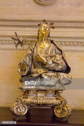 Gold and silver bust of the Virgin Mary : Stock Photo