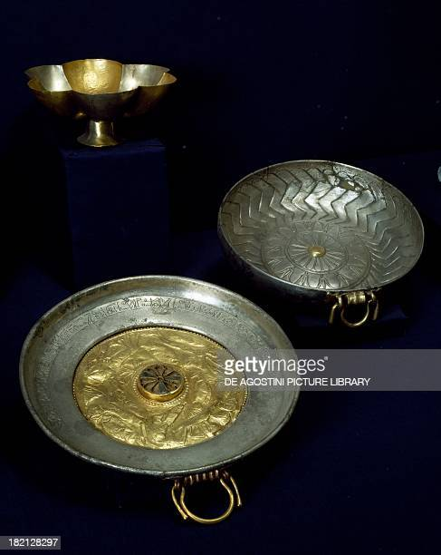 Gold and silver plates and bowls of Undebaunded tomb number 3 from Tanis Goldsmith art Egyptian civilisation Third Intermediate Period Dynasty...