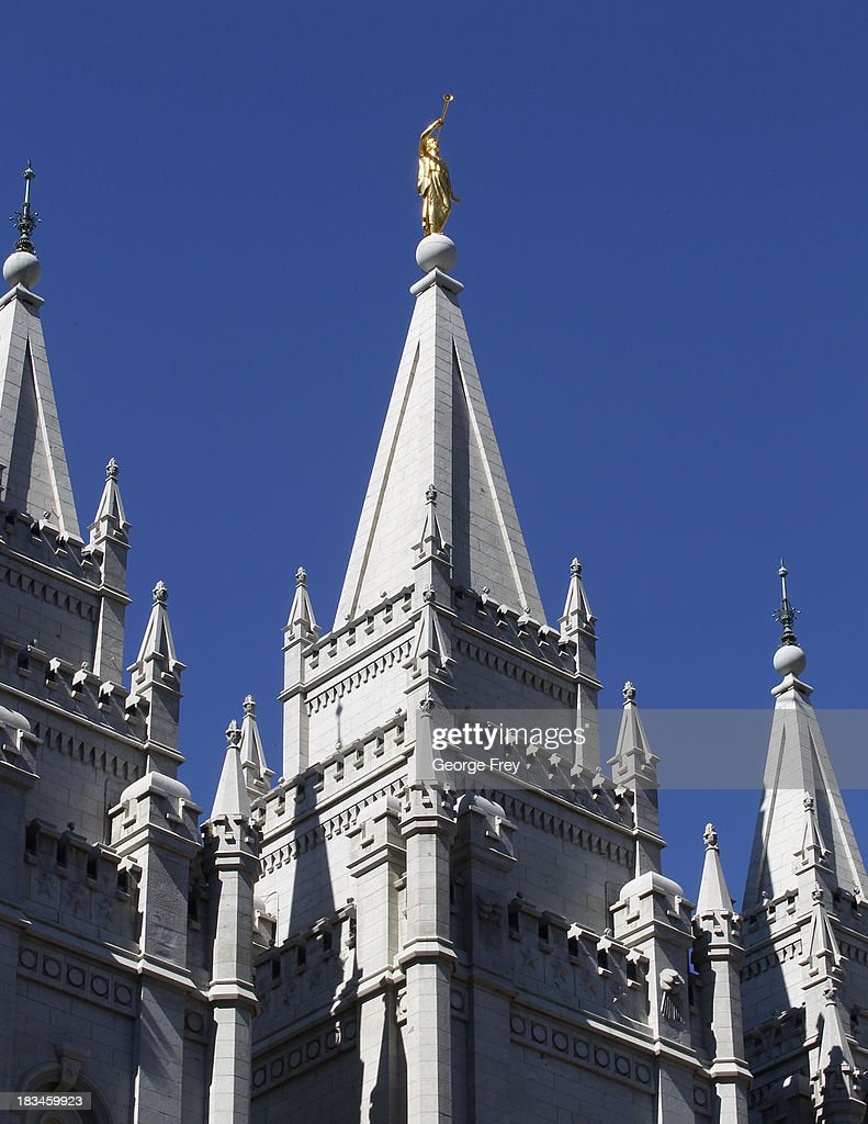 A gold Angle Moroni sits atop the Mormon temple on Temple Square during the 183rd Semi-Annual General Conference of the Church of Jesus Christ of Latter-Day Saints in Salt Lake City, Utah on October 6, 2013.