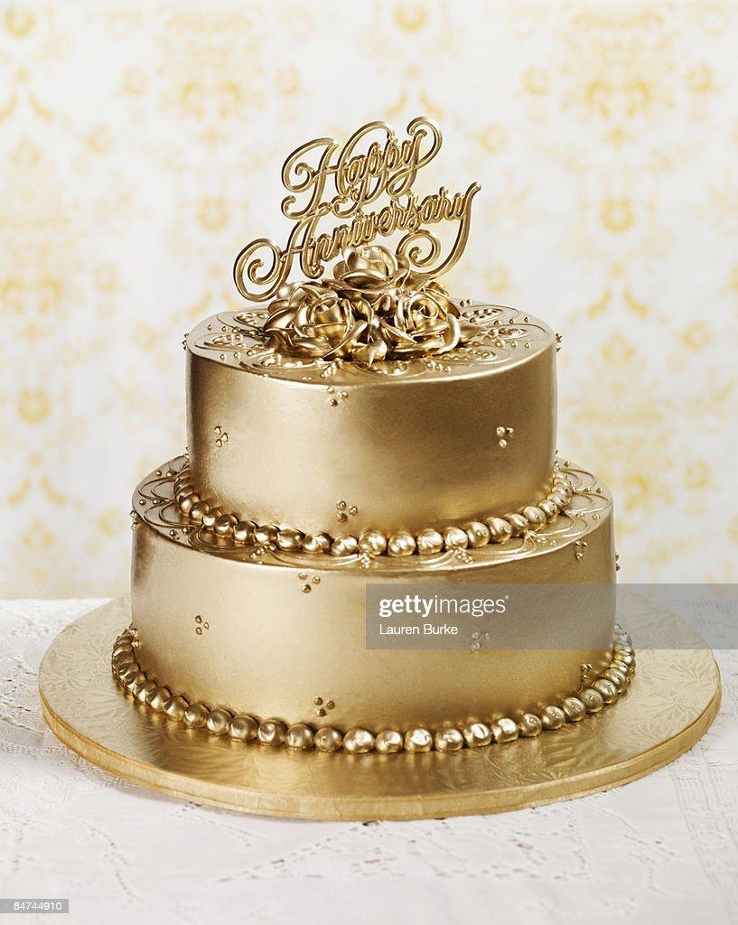 Gold Anniversary Cake : Stock Photo