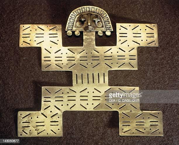 Gold anthropomorphic breastplate molten lost wax Artifact originating from Quimbayas area in Guaca Dragon PreColombian Tolima Civilization