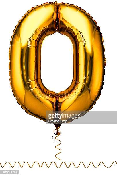 Gold balloon in the shape of a number zero