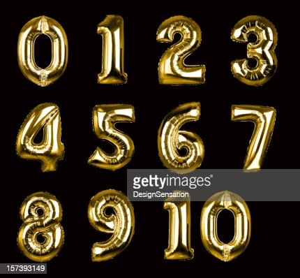 Gold Balloon Numbers 1-10 (+clipping paths, XXL)