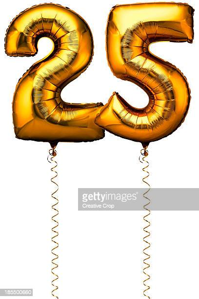 Gold balloons in the shape of a number 25