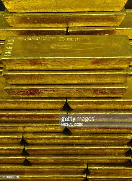 Gold bars are displayed in a vault at the Czech Central Bank on September 05 2011 in Prague AFP PHOTO/ MICHAL CIZEK