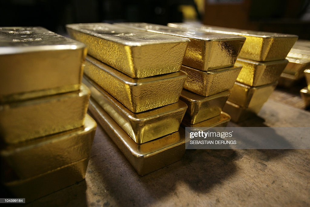 Gold bars are pictured on April 6 2009 at a plant of gold refiner and bar manufacturer ArgorHeraeus SA in Mendrisio southern Switzerland At current...