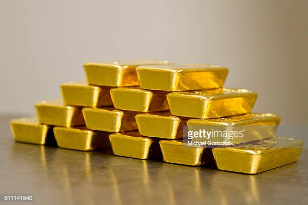 Gold bars in the safe of Pro Aurum Gold trading house on February 16 2016 in Muenchen Germany