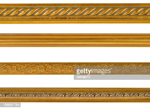 Gold Border and Edge Design Elements, White Isolated