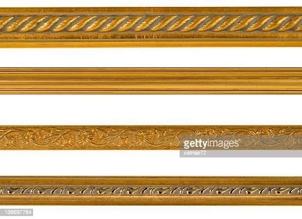 Bordo oro e bordo elementi di Design, isolato su bianco