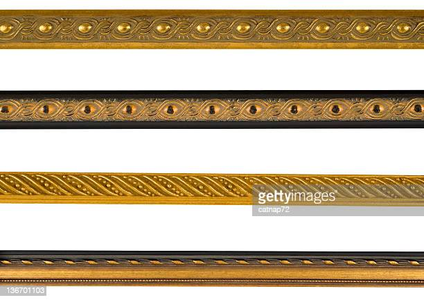 Gold Border Edge Assortment, White Isolated Studio Shot