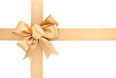 Gold Bow & Ribbon on White Background