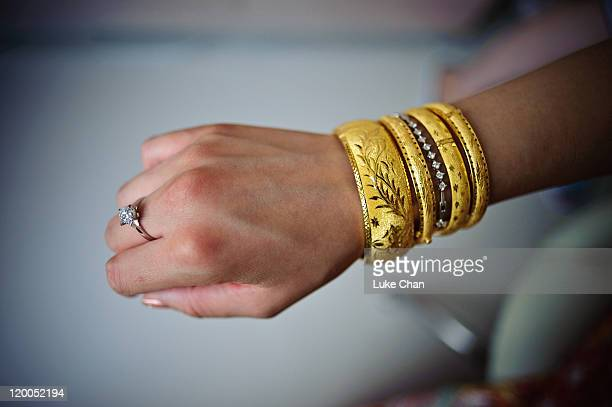 Gold bracelet and diamond ring