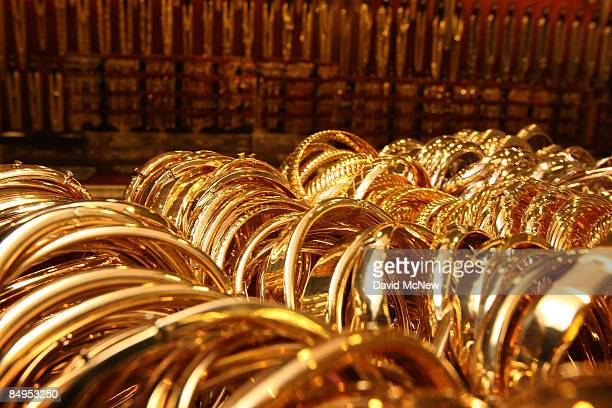 Gold bracelets imported from Italy are shown on sale February 20 2009 in Los Angeles California Gold futures finished the day above $1000 an ounce...