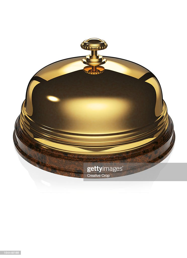 Gold / brass and wood desk bell / service bell : Stock Photo