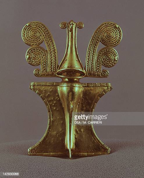 Gold breastplate artifact originating from the province of Bolivar PreColombian Sinu Civilization 13th Century AD Bogotá Museo Del Oro
