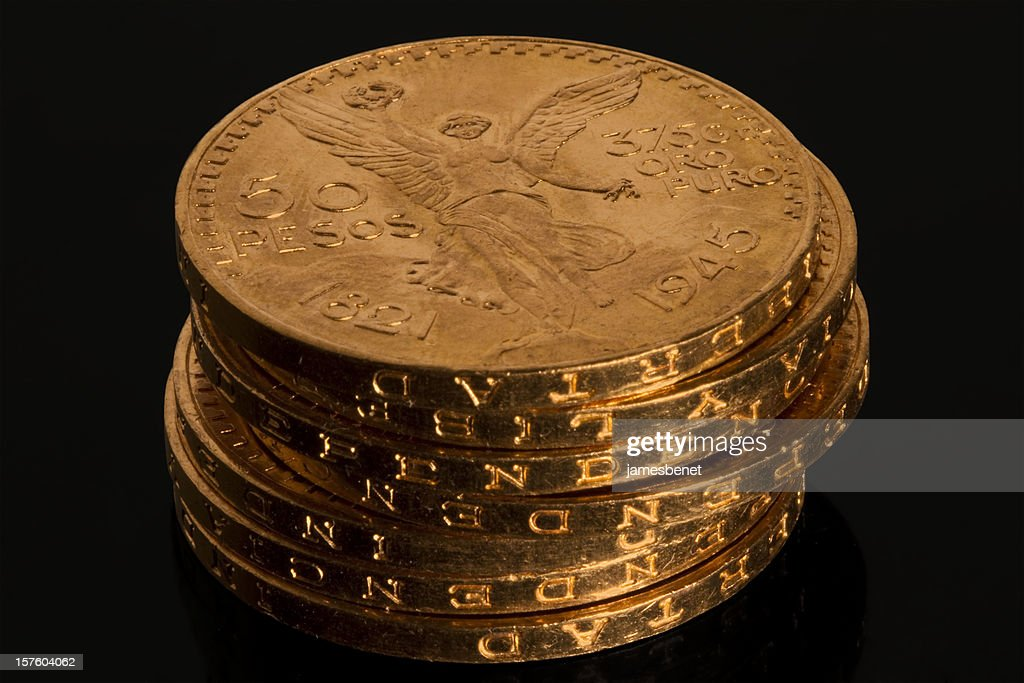 Gold Bullion Coin Stack : Stock Photo
