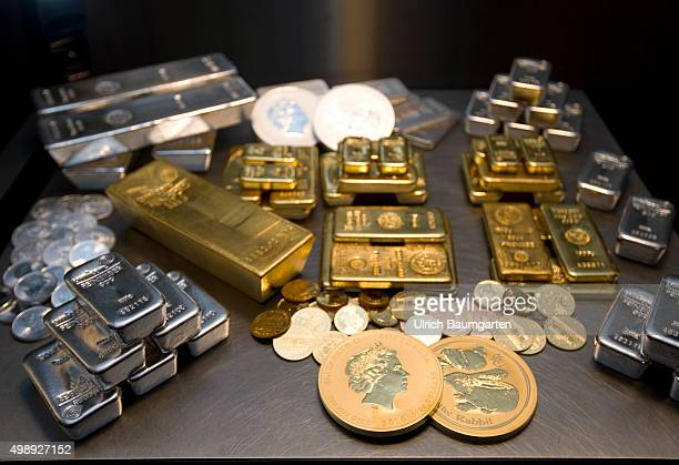 Gold bullions silver bullions and gold coins in the strong room of pro aurum goldhouse in Munich
