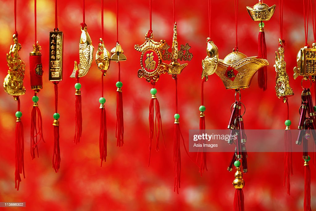 Gold Chinese New Year decoration : Stock Photo