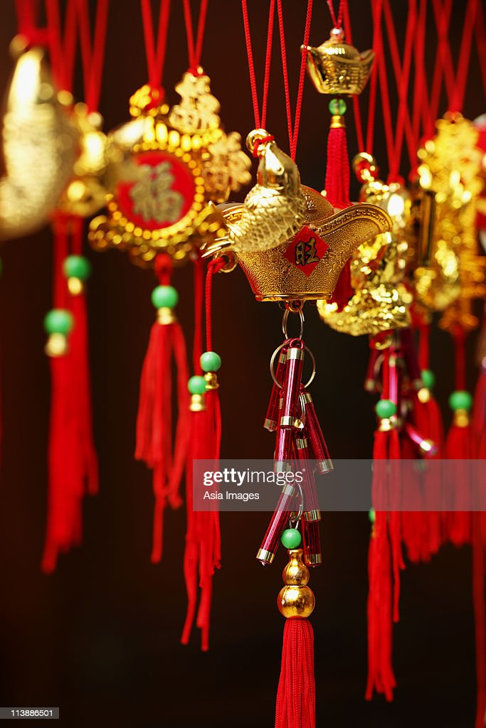 Gold Chinese New Year decorations : Stock Photo