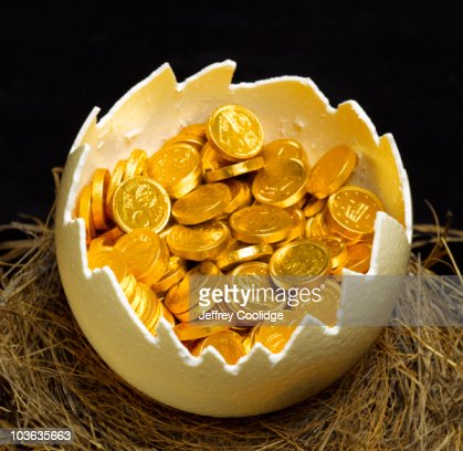 Gold Coins inside Egg in Nest : Stock Photo