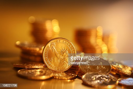 Gold Coins on Background : Stock Photo