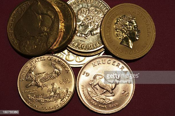 GERMANY MUNICH gold coins Oour picture shows the Kruegerrand 1 oz fine gold Suedafrika American Eagle Australian Nugget and fine gold coins of...